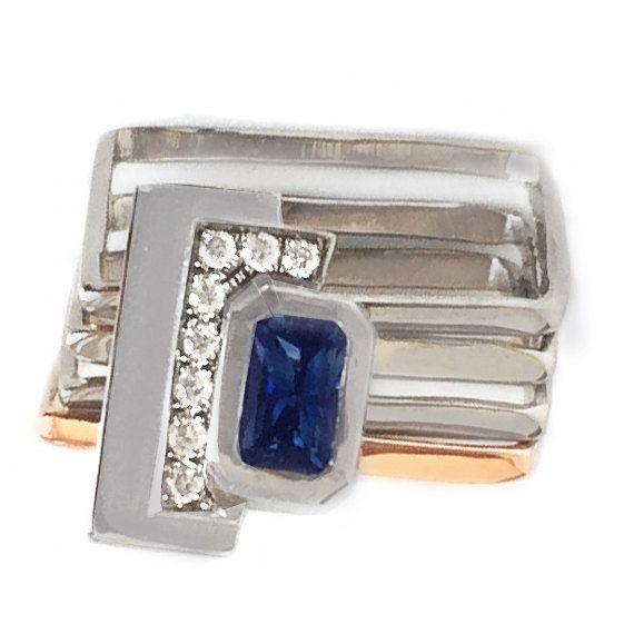 Blauwe SAPPHIRE ENGAGEMENT RING - Sapphire & diamanten verlovingsring - saffier en diamanten effenen verlovingsring-moderne verlovingsring