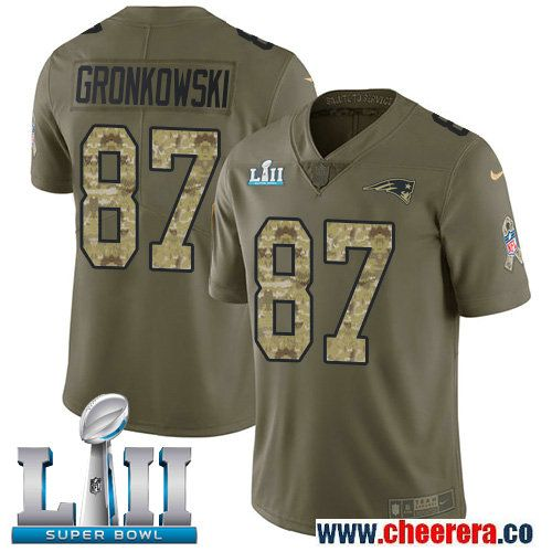 Nike Patriots 87 Rob Gronkowski Olive Camo 2018 Super Bowl LII Salute To Service Limited Jersey