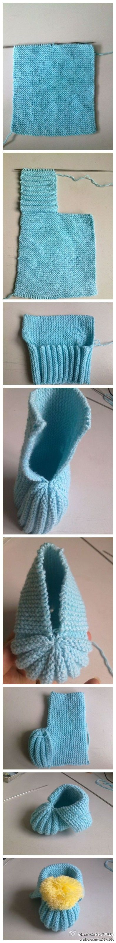 【娃娃鞋的编织方法】1.起13针,织成这样,收一半,留一半 2.继续打,四排正四排反 3.合拢 4.上面和下面都收紧 5.底面缝合 6.上面的翻过来 7.最后加个装饰即完成。一起在冬天为宝宝织双温暖的小鞋吧!