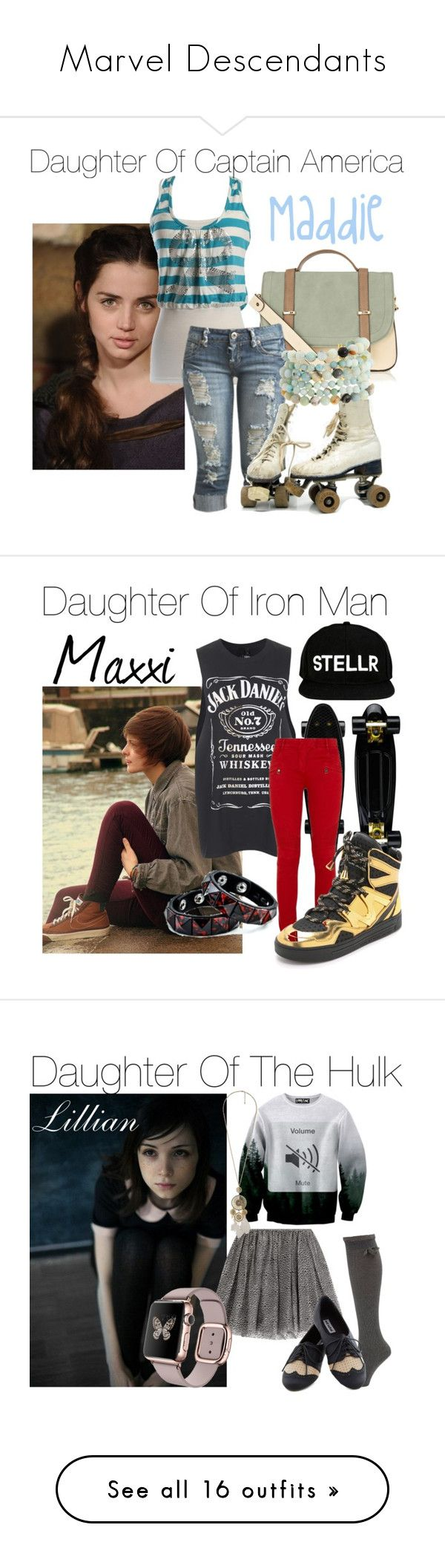 """""""Marvel Descendants"""" by say13579 ❤ liked on Polyvore featuring Warehouse, Wet Seal, Kenneth Jay Lane, Tee and Cake, Balmain, Marc by Marc Jacobs, VIPARO, RED Valentino, Forever 21 and Halston Heritage"""