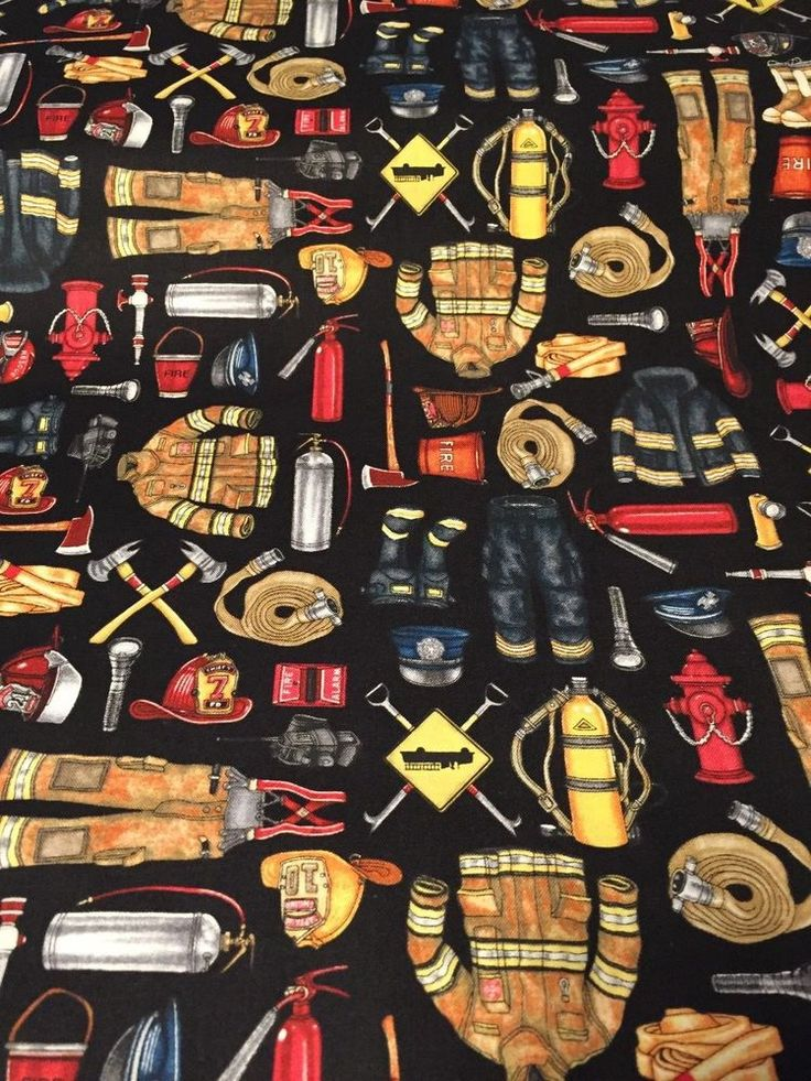 Firefighter 5 Alarm100% cotton fabric by yard black firefighter fire equipment #QuiltingTreasures