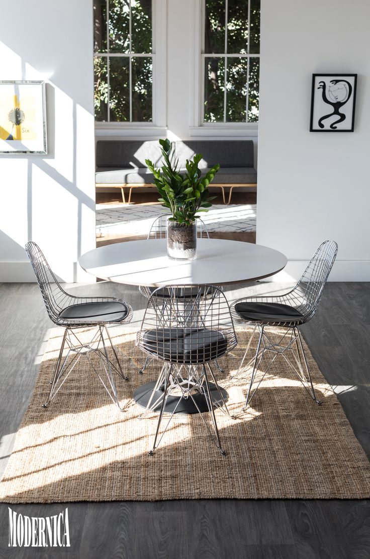 Cyclone Dining Table and Wire Dining Chairs