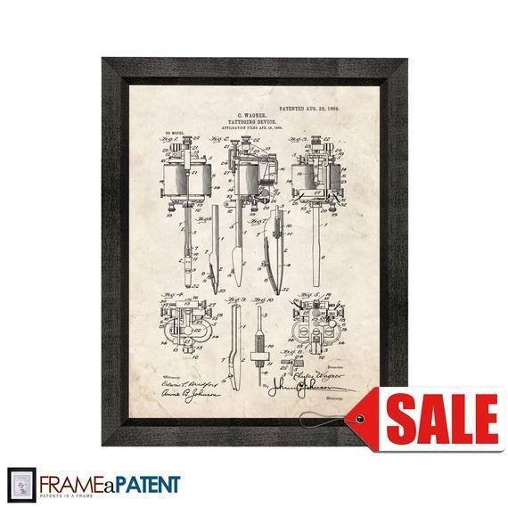 Affiche tatouée de brevet de dispositif de tatouage – 1904 – Vintage Wall Art – Grande idée de cadeau   – Products