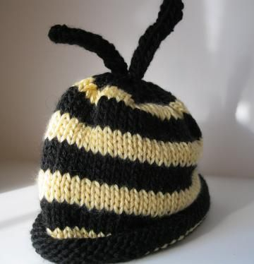 """""""Bee Mine"""" knitted baby  hat 0- 3 month by handmadefuzzy for $17.00"""
