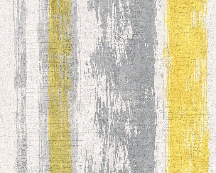 Fleece Wallpaper Schner Wohnen 6 AS 94425 3 Stripes Wood Look Cream Yellow Gray