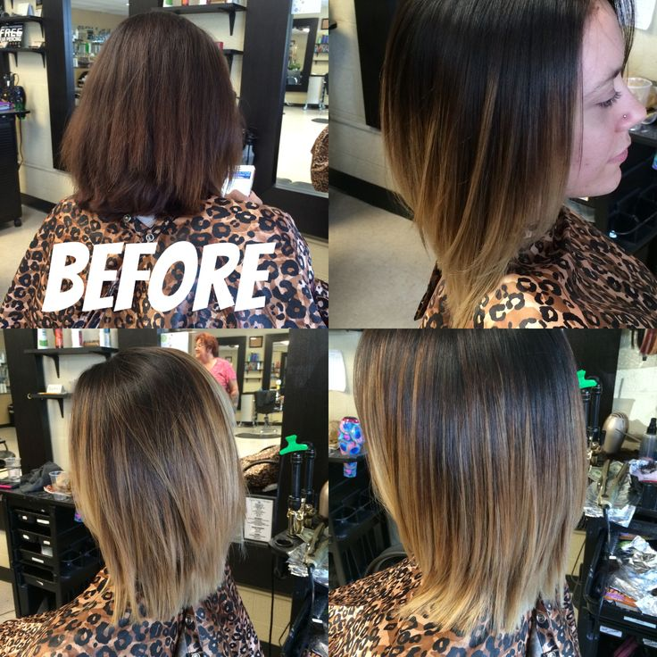 Hair Color Before And After Short Ombre Balayage Women