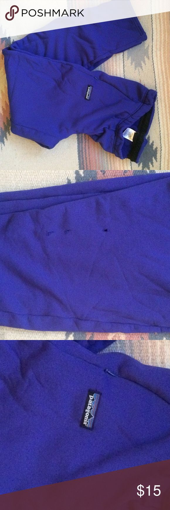 Vintage Patagonia Pull on Fleece Baselayer/Lounge Great hang around pants with zipper side pockets-fleece inside and smooth outside-holes shown in 2nd picture are on the back of the leg Patagonia Pants Leggings