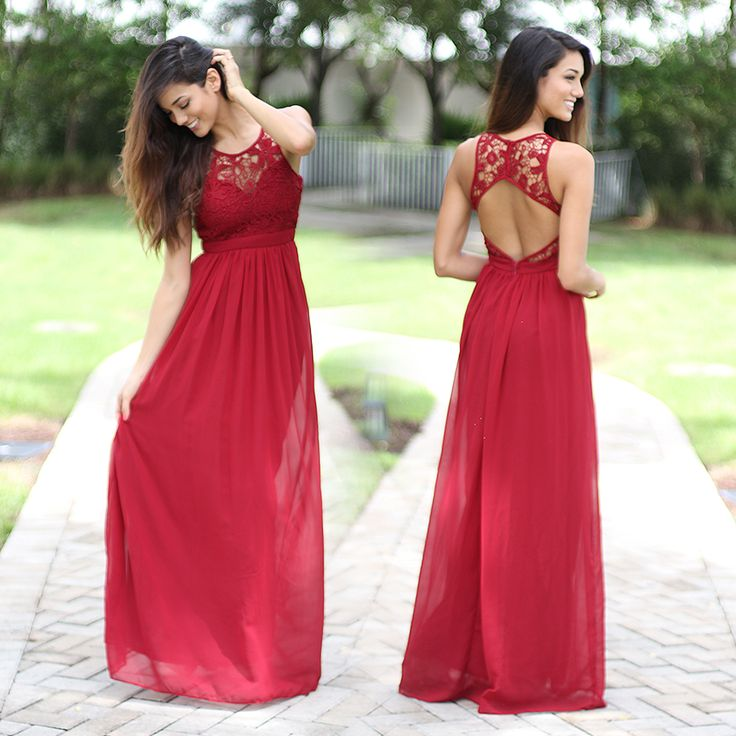 The perfect dress for a night out with the girls or that special someone! Super elegant and cute Burgundy Lace Maxi Dress! Perfect for any special occasion! We love its beautiful lace flowy skirt and open back! Check out other maxi dresses at our online dress boutique!