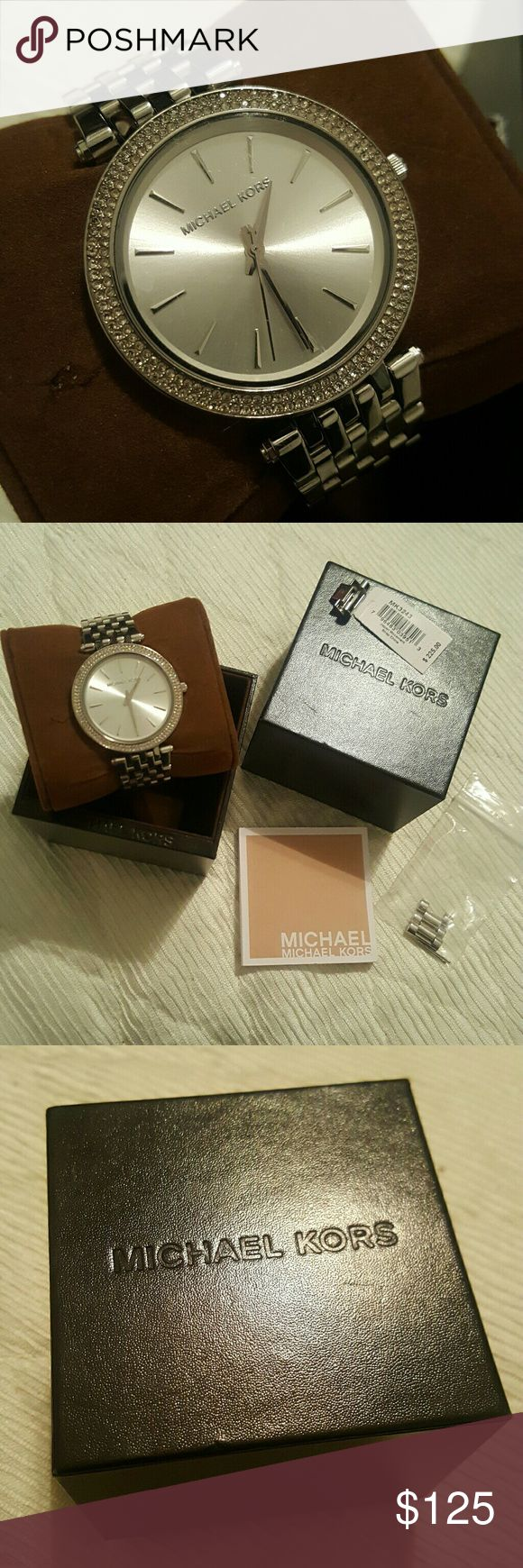 Michael Kors Silver Watch In excellent condition. With its original box and links to adjust to your size.  Price is negotiable, not fixed. Taking all offers  (: Michael Kors Accessories Watches