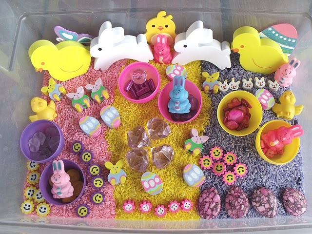 Easter sensory tub from www.nurturingnaters.blogspot.com.  Easter sensory bin.