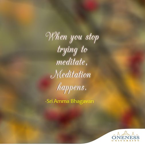 When you stop trying to meditate, meditation happens. -Sri Amma Bhagavan
