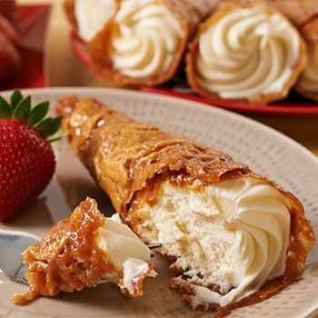Zabar's Cheesecake Cones - gooey-crisp hand rolled caramel-almond cones with velvety, tangy-sweet New York-style cheesecake!
