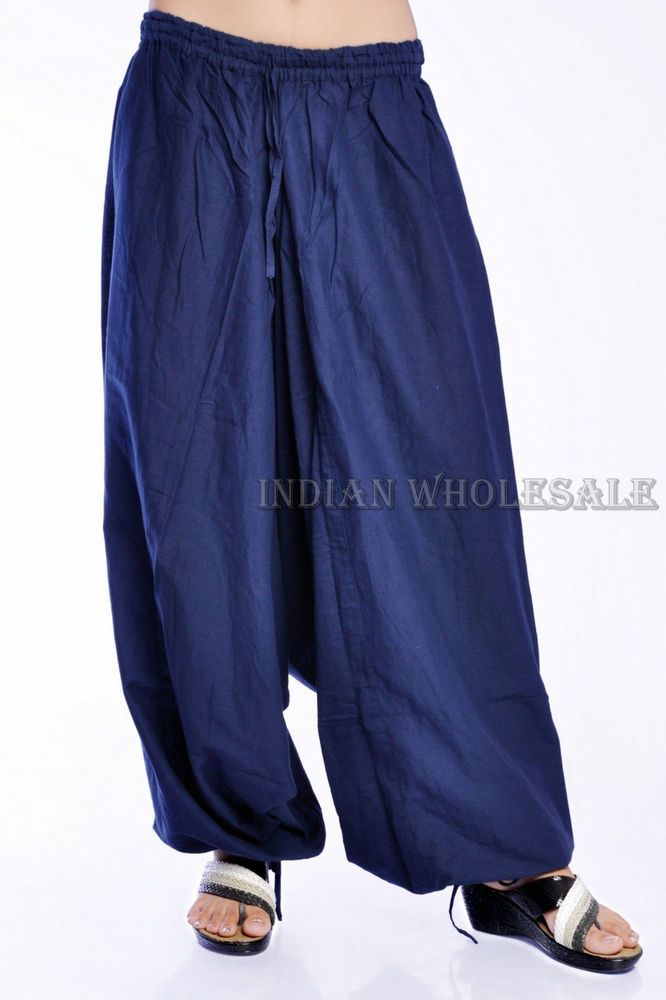 Indian Ethnic Blue Color Baggy Women Cotton Harem Pants Trousers IWUS2004BLU #Handmade #CasualPants