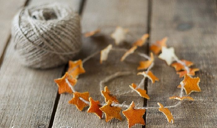 Orange Peel Star Garland (tangerine peel is thinner and works better.)