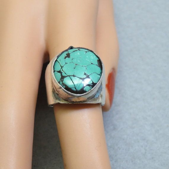 Sterling and Variscite Man's Pinkie Ring, Size 5