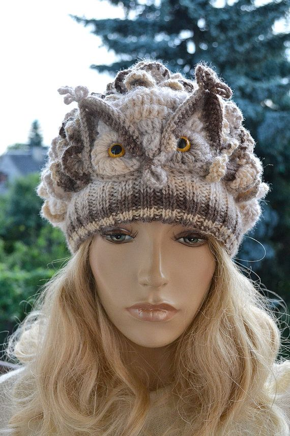 Crocheted knitted beige owl  cap hat beanie   great by DosiakStyle