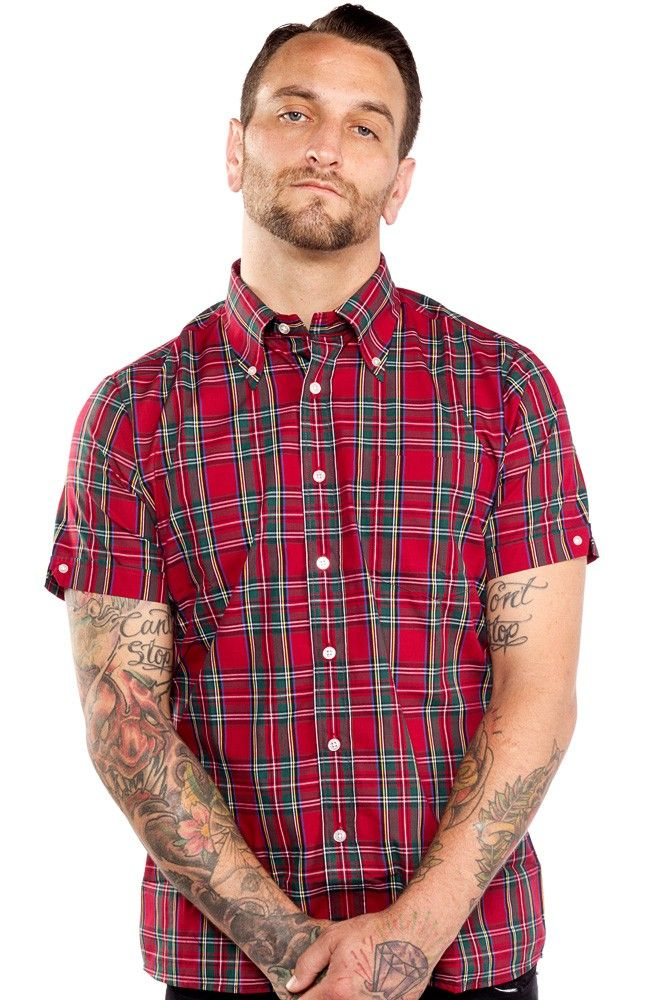 BRUTUS RED TARTAN TRIM FIT BUTTON DOWN SHIRT The Brutus ...