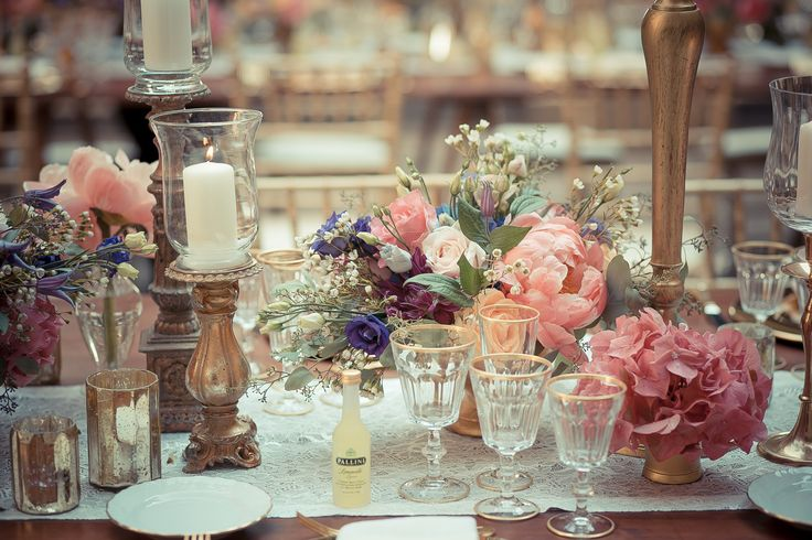 A detail of the flower decorations used for the wedding dinner tables