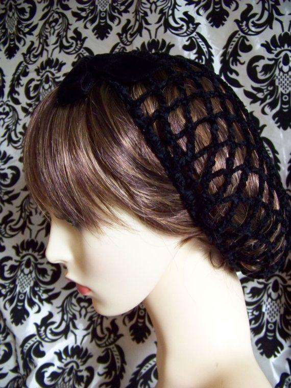 Crochet Hair Net Snood : ... vintage style handmade crochet snood hair net chenille with vel