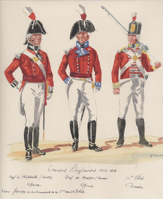 Troupes Anglaises ; 1803-1808 . Rgt,de Walleville Suisse, officer. Rgt,de Mauron Suisse, officer. 90th,Foot private.