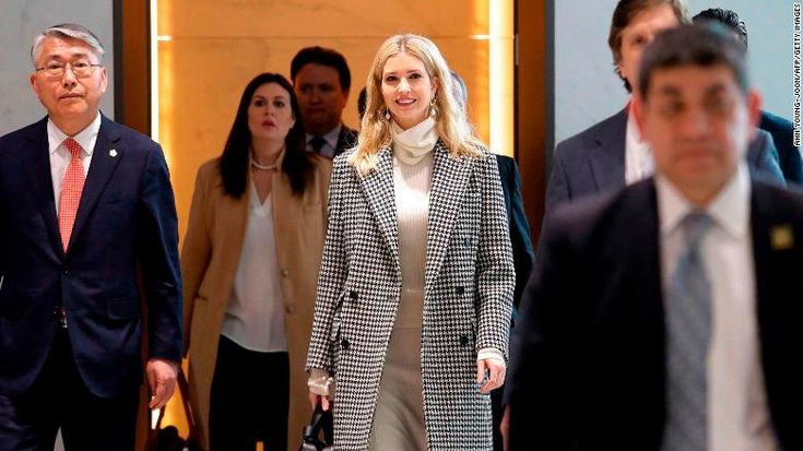 Ivanka Trump (C), advisor to and daughter of US President Donald Trump, arrives at Incheon International Airport in Incheon on February 23, 2018, to attend the closing ceremony of the 2018 Pyeongchang Winter Olympic Games on February 25. Trump's daughter Ivanka arrived in Seoul on February 23 to attend the Pyeongchang Winter Olympics closing ceremony, where a top North Korean general will also be present. / AFP PHOTO / POOL / Ahn Young-joon        (Photo credit should read AHN YOUNG-JOON/...