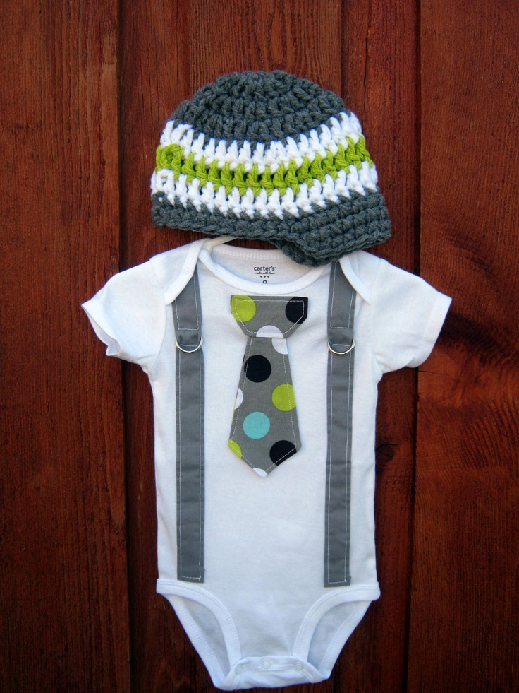 Get the set - Polka Dot Neck Boy Tie Bodysuit Onesie or T-Shirt with Suspenders and Crocheted Hat - Size NB to 12 Years. $34.00, via Etsy.