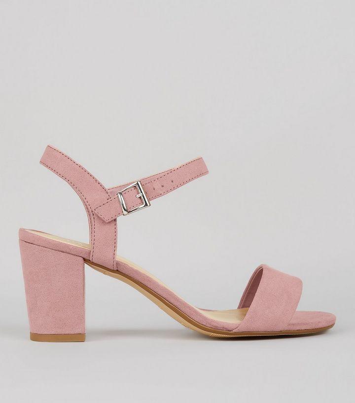 low cost los angeles new high Teens Pink Suedette Block Heeled Sandals   Pink block heel ...