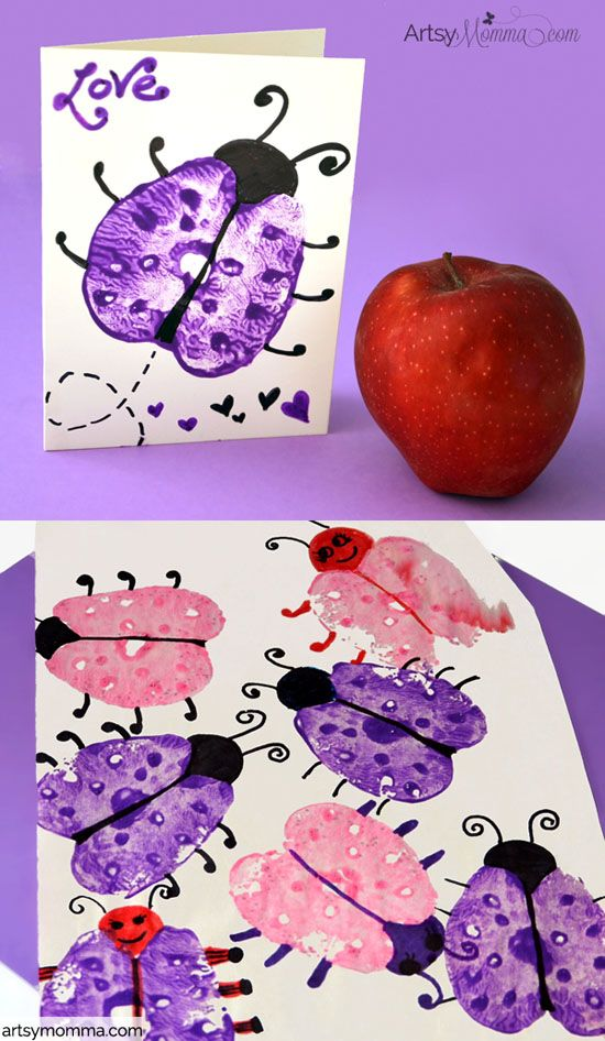 apple print ladybugs card craft idea for kids - Kid Pictures To Print
