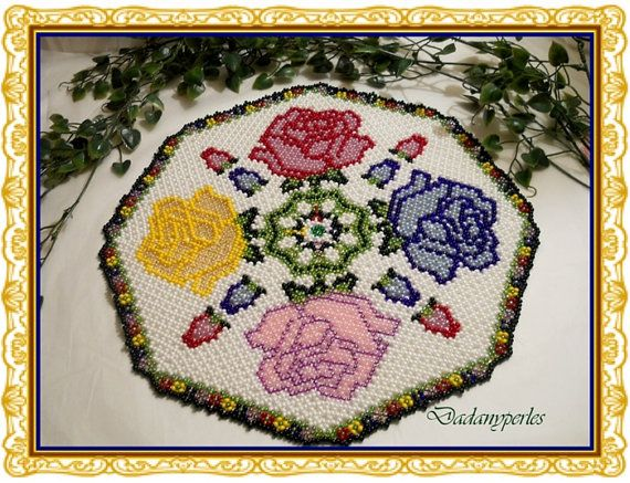 pattern bead weaving doily the roses by dadanyperles on Etsy, $5.95