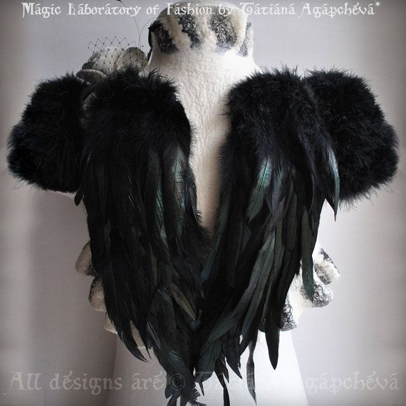 SWAN LAKE Ivory Bolero Shrug Bridal Feathers Wings by TianaCHE, $260.00  I only like the back.. not the front