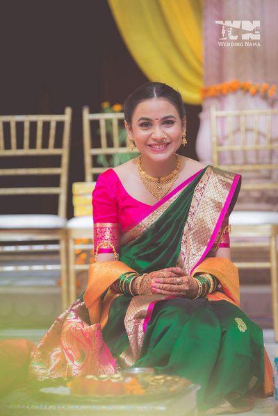 haldi outfit , paithani saree , maharashtrian bride , green and pink silk saree