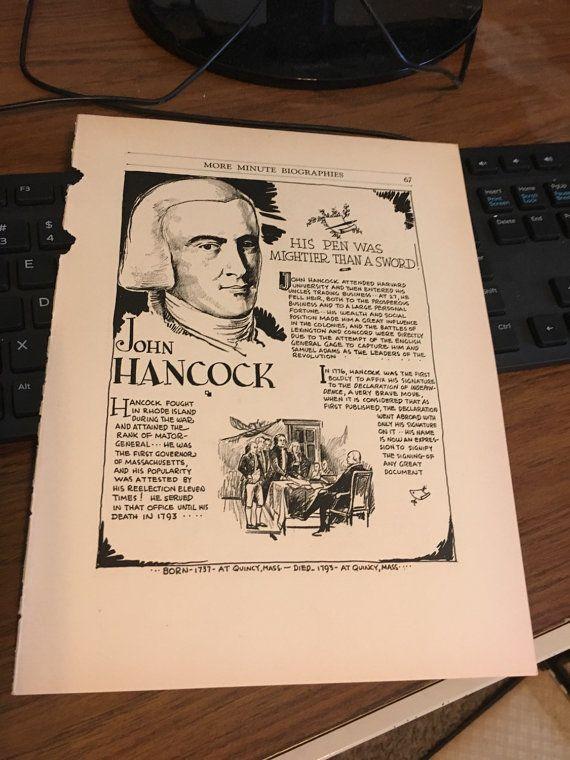 Book page print. John Hancock His pen was by BigPhilsEmporium