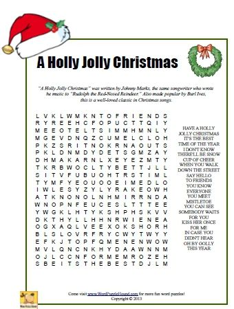A Holly Jolly Christmas Word Search - Christmas printable puzzle