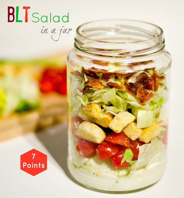 BLT Salad in a jar. Pack a salad for lunch in a mason and just shake and eat. Weight Watcher's friendly recipe can be found at this link. 7 Point lunch.