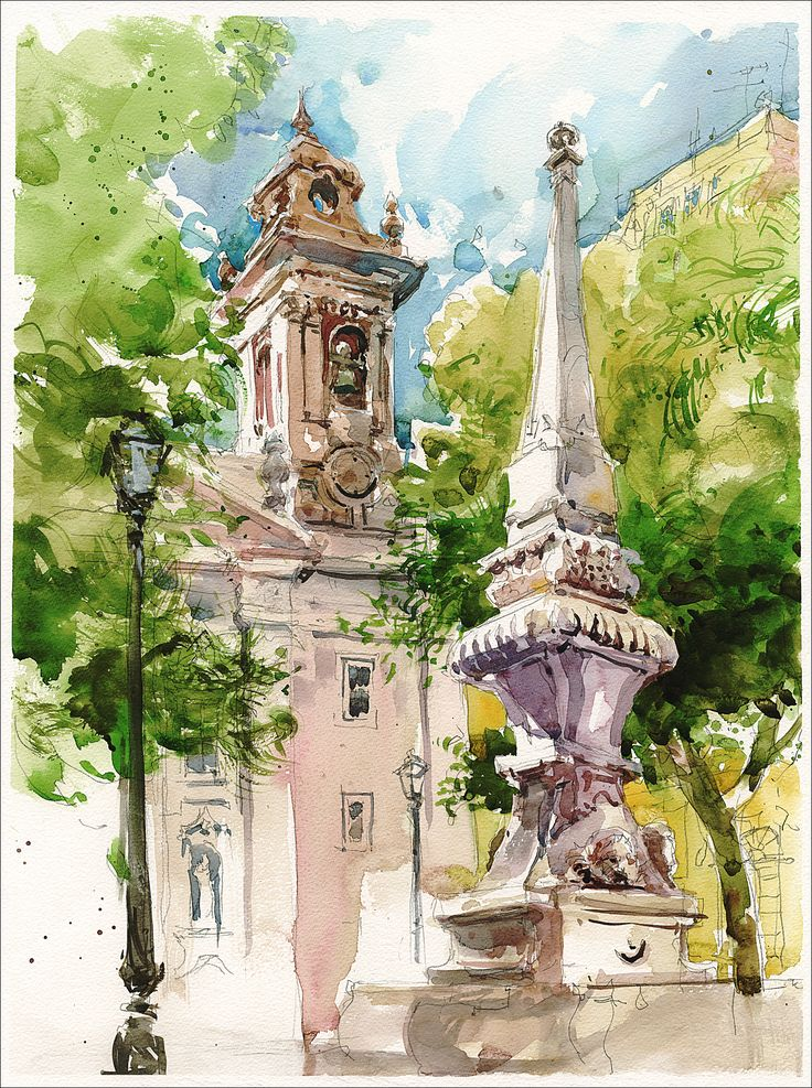 artist sketchbook inspiration ... Watercolor sketch of Lisbon.