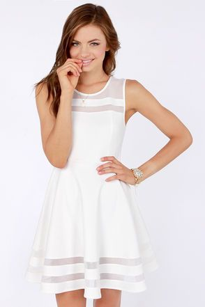 #WithChic #chicoftheday, Simple Cheap Chic, Shop WithChic White Sheer Insert Sleeveless Skater Dress online.