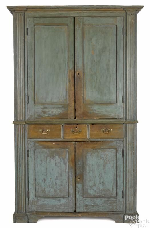 Mid-Atlantic painted pine and poplar wall cupboard, late 18th c., retaining - 466 Best Primitive Cupboards Images On Pinterest Pine, DIY And