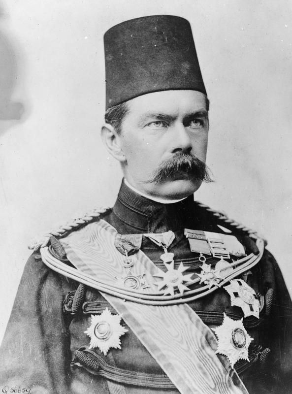 """Here Field Marshal Horatio Herbert Kitchener, 1st Earl Kitchener, as Pasha, i.e. British C-in-C of the Egyptian Army.Kitchener won fame in 1898 for winning the Battle of Omdurman and securing control of the Sudan.At the beginning of WWI, as Secretary of War, he organized """"Kitchener's Army,"""" the largest volunteer army in modern history.Kitchener was killed in 1916 when the warship taking him to negotiations in Russia was sunk by a German mine."""