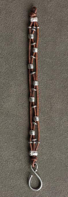 Leather bracelet with alternating silver beads . . . . ღTrish W ~ http://www.pinterest.com/trishw/ . . . . #handmade #jewelry #beading .