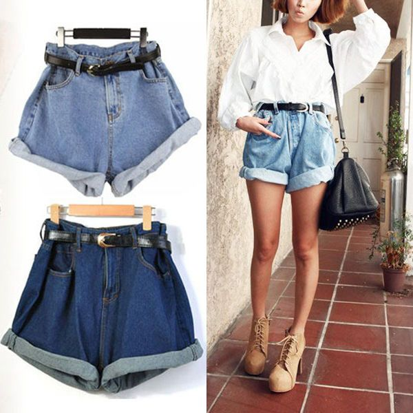 Hot Women Retro Girl High Waisted Oversize Crimping Boyfriend Jeans Shorts Pants in Clothing, Shoes & Accessories, Women's Clothing, Shorts | eBay