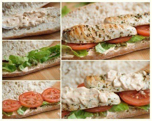 Фото к рецепту: Сэндвич с курицей и соусом тысяча островов