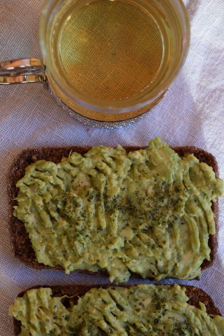 Avocado with Nettle on Rye Toast