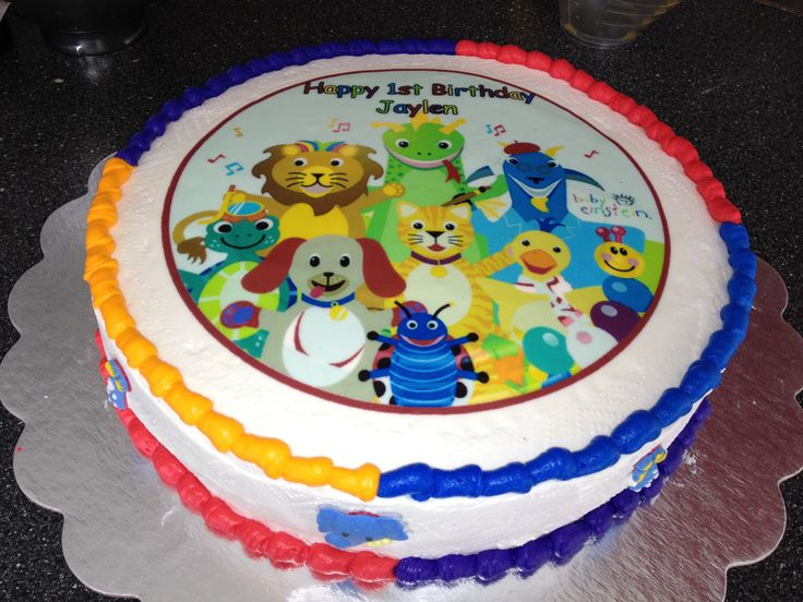Baby einstein cake i made for jays 1st birthday baby for Baby einstein decoration