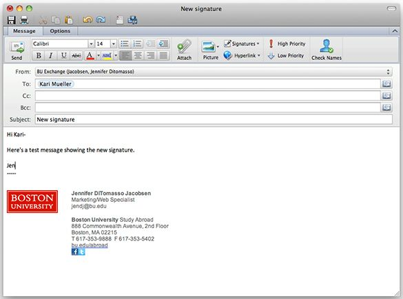 outlook e mail template