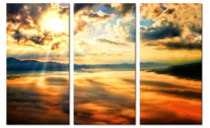 Drieluik canvas schilderij wolken tijdens zonsondergang
