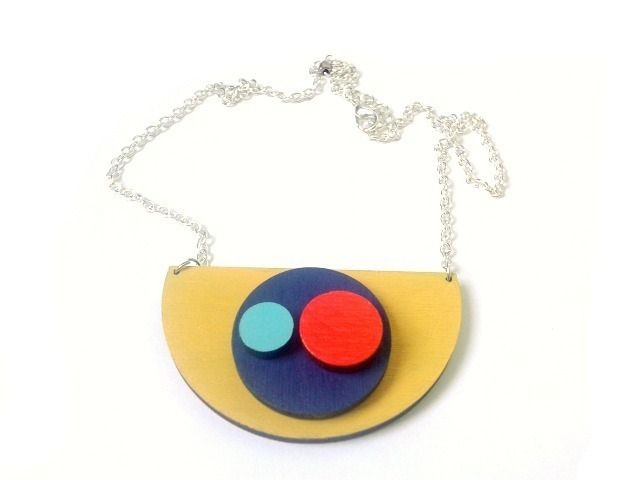 Geometric Wooden Semi Circle Necklace in mustard yellow, navy, turquoise and fluorescent red by Red Paper House