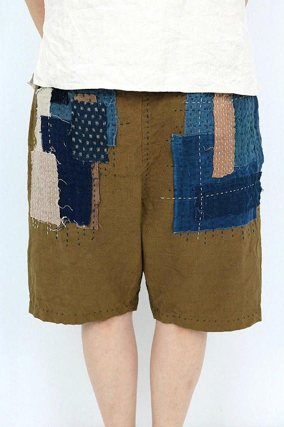 Antique linen brown shorts with Japanese Boro/French