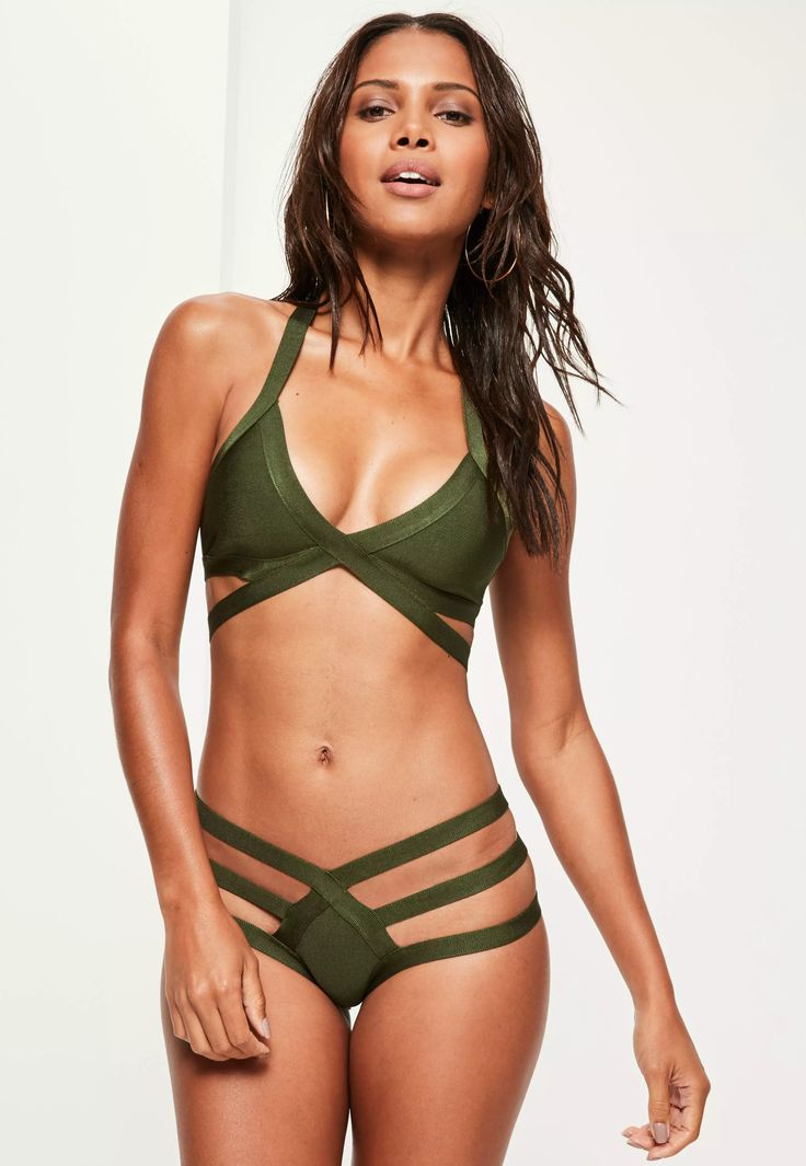kick it in khaki and elevate your beach game wearing this beaut bikini set  - featuring