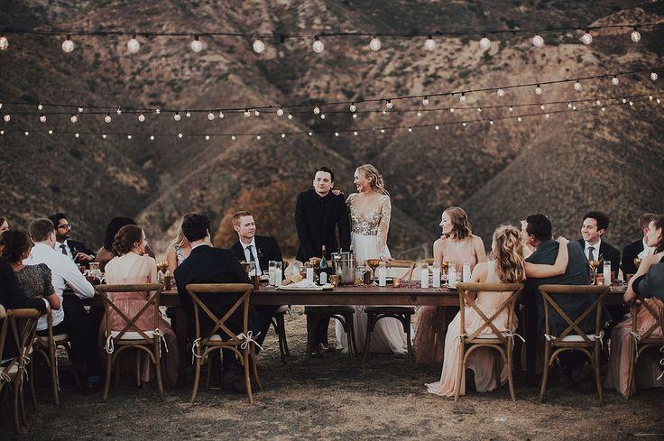 Figueroa Mountain Farmhouse Wedding reception with string lights