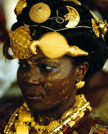 """""""An Adioukrou queen mother is bedecked in gold jewelry."""" Photographers Carol Beckwith and Angela Fisher, writing in the book Faces of Africa"""